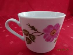 Kahla német porcelán kávéscsésze rózsaszín virággal.