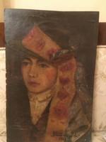 Úri hölgy kalapban , szignózott festmény 1928-ból .
