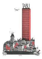 Vicces cigaretta reklám plakát reprint nyomat Klinger 1919 tabu kisváros felhőkarcoló ördög humor