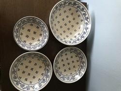 4 db angol mély tányér kínáló porcelán kék mintával