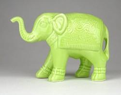 1E398 Zöld színű szerencsehozó kerámia elefánt 13 cm