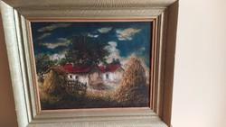 Gyönyörű szignózott festmény tanya, tanyarészlet