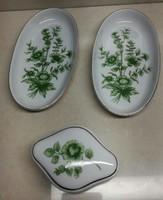 3 db Zöld virág mintás hollóházi gyűrű tartó porcelán
