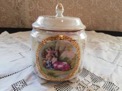 Eladó szecessziós altwien gyönyörű puttós  lüszter mázas jelenetes porcelán cukortartó fedővel!