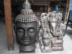 Antik bronz os Ganésa Buddha kültéri öntött kő  Feng Shui Japán kertépítő szobor