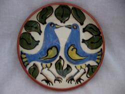 Kék madár pár  szignált fali tál Gorka?