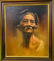 Munadi Bali (indonéz festő ) Balinéz férfi portré 50x60cm