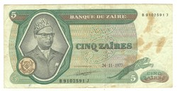 5 zaires 1977 Zaire 2.