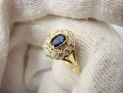 14K királyi hercegnő arany gyűrű zafírral és gyémántokkal gyemant