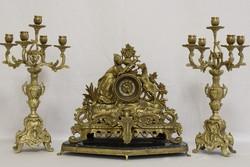 Ritka bronz asztali óra gyertyatartóval, luxus antik asztali óra