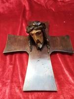 Antik,fából faragott Krisztus-fej '20-s évek...
