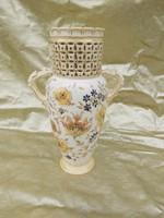 Zsolnay Júlia családi pecsétes váza, faun fej fogantyúkkal.1880