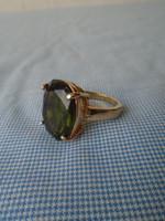 Gold filled smaragd zöld kővel,nagyon szép gyűrű