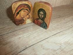 Mini ikon faragott kis könyv a Szent családdal