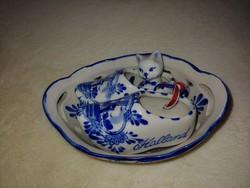 Csodaszép Holland szélmalmos cicás fapapucsos porcelán