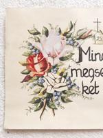 Régi akvarell festett rózsás nefelejcses kép vallási idézet