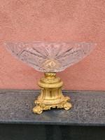 Tűzaranyozott bronztalpas kínáló - gyümölcstál- asztalközép