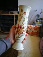 Zsolnay orchidea mintás porcelán hengeres váza
