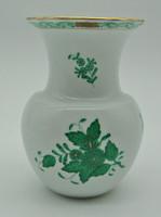 B628 Herendi zöld Apponyi mintás váza 14,5 cm-es 7025 AV formaszámmal - hibátlan gyönyörű darab