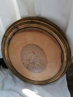 Antik réz biedermeier ovális képkeret, eredeti XIX. századi portréval