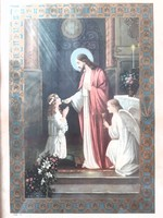 Régi emléklap 1931 Első szent áldozási emlék angyalos falikép képkeret