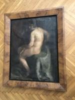 Deli Antal férfi akt festmény nagyméretű intarziás biedermeier stílusú képkeretben