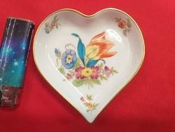 Herendi Virágmintás Szív Alakú Tál,Kínáló.10.5 cm