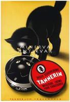 Vintage retro cipőkrém reklám plakát reprint nyomat fekete cica macska tükörkép