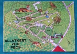 Pécs,Állatkert,térképes képeslap,1977