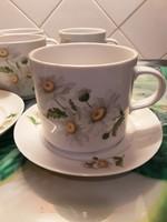 Ritka, retro Alföldi porcelán - Margarétás teás, csokoládés, kakaós készlet - 3 dl