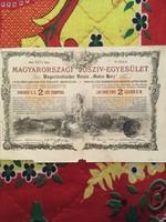 Magyarországi Jószív-Egyesület  2 Ft-ról szóló sorsjegy kölcsön! Budapest 1888. július 31.