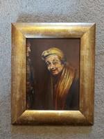 Portré festmény, olaj, karton