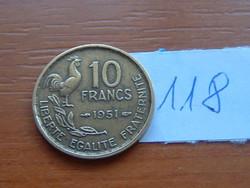FRANCIA 10 FRANCS FRANK 1951 KAKAS 118.