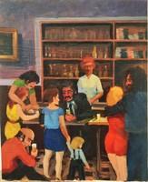 Ismeretlen festő 70-es évek Retró Kocsma jelenet 60x50 cm
