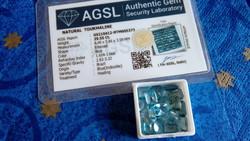17 darab, összesen 29.55 karátos természetes brazíliai kék turmalin drágakő AGSL tanúsítvánnyal