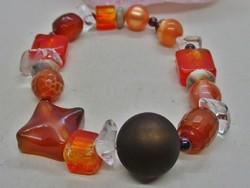 Szép karkötő valódi karneol , hegyikristály, jáspis, öntött üveg kövek