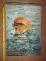 Váczi Lajos tempera festmény, méret jelezve!