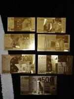 Új - 7 db-os aranyozott, plasztik euró sor egyben.