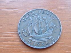 ANGOL ANGLIA 1/2 HALF PENNY 1956 II. ERZSÉBET Golden Hind vitorlás hajó #