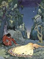 Régi francia tündérmese illusztráció sorozat reprint nyomat V.F.Sterrett 1919 alvó királylány herceg