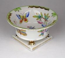 1E407 Régi Viktória mintás oroszlánlábas Herendi porcelán kaspó alakú gyűrűtartó