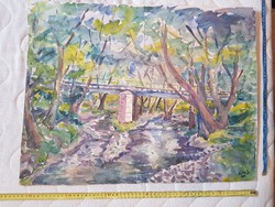 Ágota L.szignós, nagy akvarell festmény, 50x60 környékén