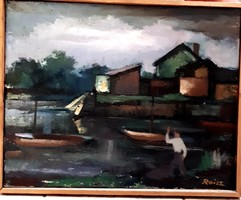 .Roisz Vilmos: Sopron-Fertő-tó vitorlás telep /Sopron/ olaj vászon festmény