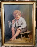 Mesterházy Dénes festőművész – Pipázó kisfiú című festménye – 151.