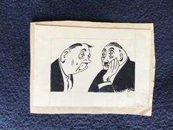 2 db Toncz Tibor karikatúra  (Ketten 10x7 cm tus A kínai 15x13 cm tus)