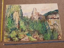 Ágota L.szignós, nagy akvarell festmény, 50x70 környékén, kétoldalas!