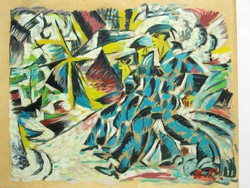 Kubo-futurista festmény A.K. monogrammal, orosz UNOVIS stílusjegyekkel