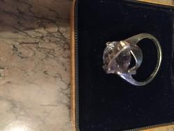 Fehér cirkónia köves ezüst gyűrű, nagy méret. Nagy mutatós!!!!