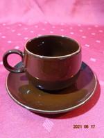 Csoki barna mázas kerámia, arany szegélyes kávéscsésze + alátét.