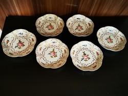 6db Hollóházi süteményes tányér
